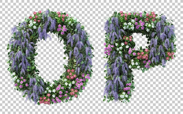 3d rendering of vertical flower garden alphabet o and alphabet p isolated