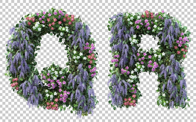 3d rendering of vertical flower garden alphabet q and alphabet r isolated