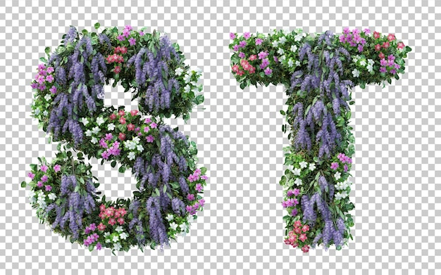 3d rendering of vertical flower garden alphabet s and alphabet t isolated