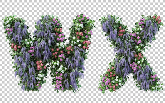 3d rendering of vertical flower garden alphabet w and alphabet x isolated
