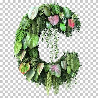 3d rendering of vertical garden alphabet c