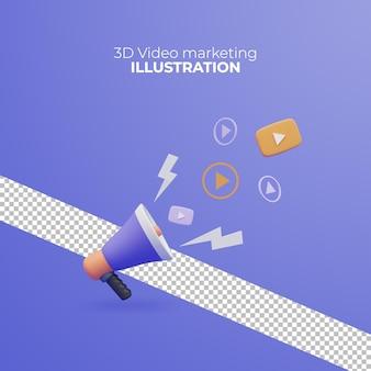 3d рендеринг видео маркетинг значок бизнес-концепция