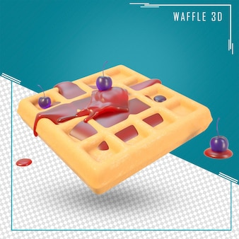 3d rendering waffle with whipped cream and  blueberry
