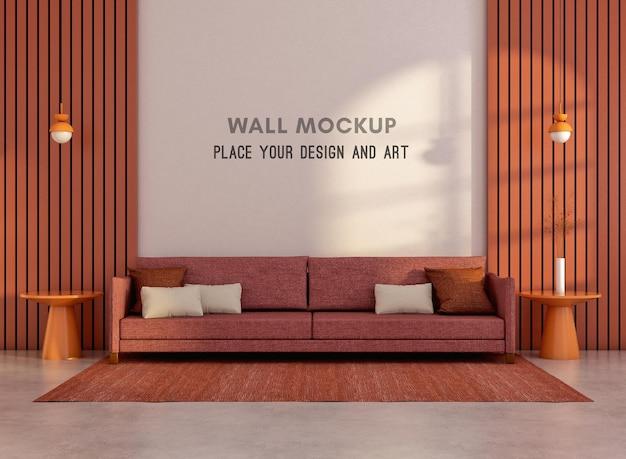 3d-рендеринг макета стены в гостиной в стиле мемфис