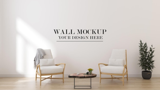 3d rendering wall mockup with summer furniture in interior
