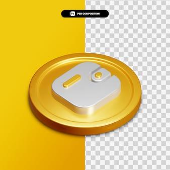 고립 된 황금 동그라미에 3d 렌더링 지갑 아이콘