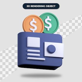 Кошелек для 3d-рендеринга с долларовыми монетами