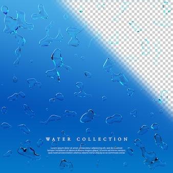 3d-рендеринг коллекции водяных пузырей на прозрачном фоне Premium Psd