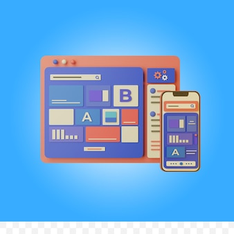 3d rendering web design illustration isolated