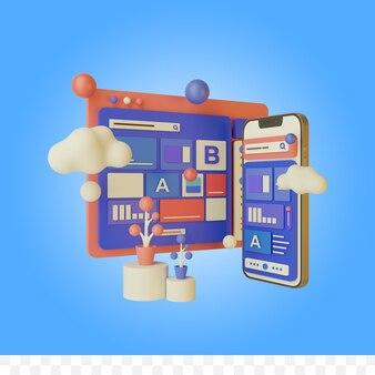 3d rendering web design illustration