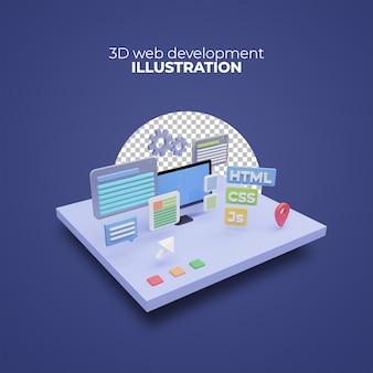 코딩 및 프로그래밍의 컴퓨터 아이콘 아이디어와 3d 렌더링 웹 개발 개념