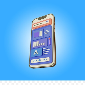 3d rendering web development on phone illustration isolated