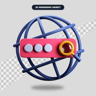 3d-рендеринг значка веб-поисковой системы, адресного веб-сайта и увеличительного стекла
