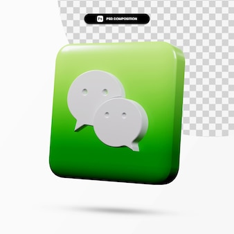 分離された3dレンダリングwechatロゴアプリケーション