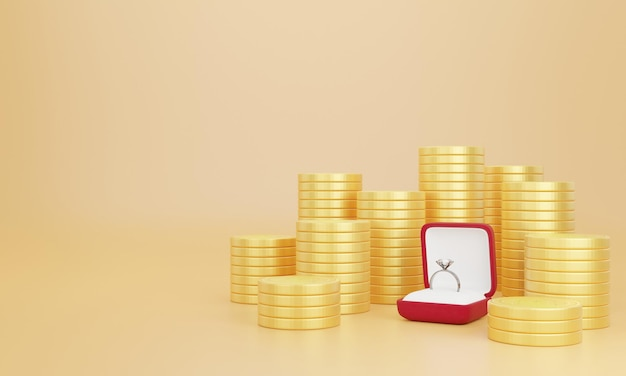 3d rendering of wedding rings on stack of coins Premium Psd