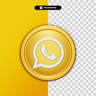 3d rendering whatsapp icon on golden circle isolated