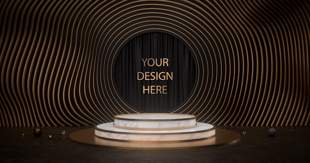 3d rendering of white marble pedestal with golden circles