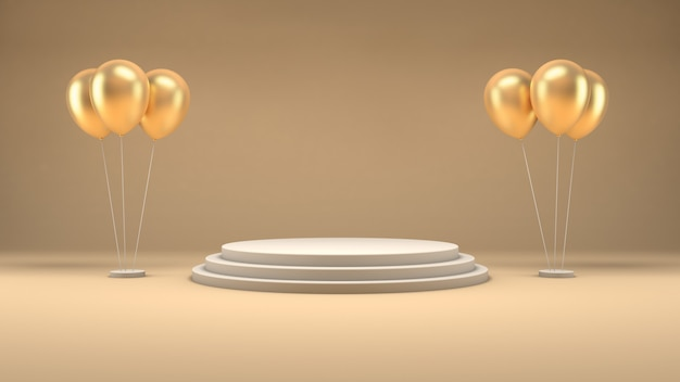 3d rendering of a white podium and golden balloons on a pastel room for product presentation