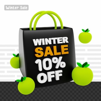 3d-рендеринг зимняя распродажа со скидкой 10% на текст