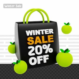3d 렌더링 겨울 세일 20% 할인 텍스트