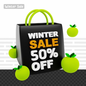 3d рендеринг зимняя распродажа скидка 50% на текст