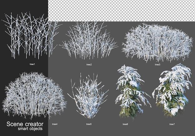 3d 렌더링 겨울 나무 배열