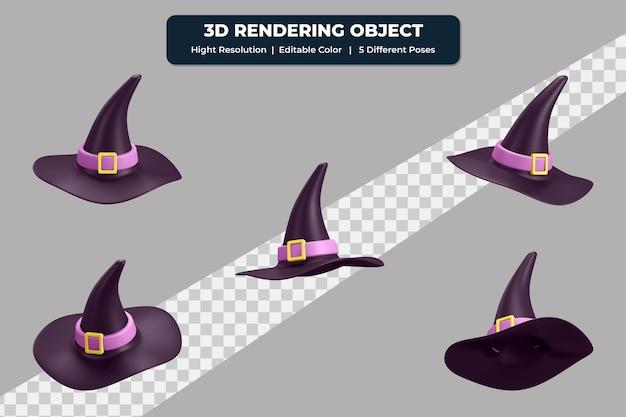 5つの異なるポーズと編集可能な色の3dレンダリング魔女の帽子アイコン