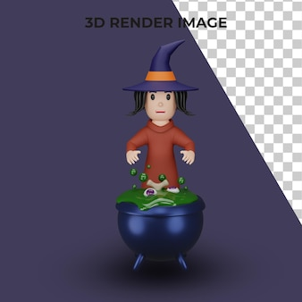 3d rendering of witch with halloween concept