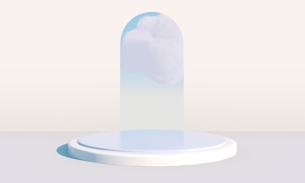 3d rendering with podium and minimal cloud scene