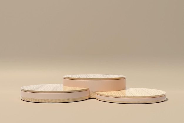 제품 프레젠테이션-2를 위한 3d 렌더링 목재 연단 미니멀리스트