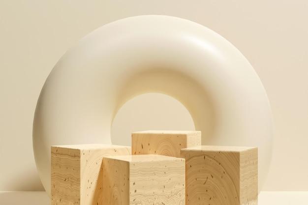 3d рендеринг деревянного подиума минималистский для презентации продукта-3