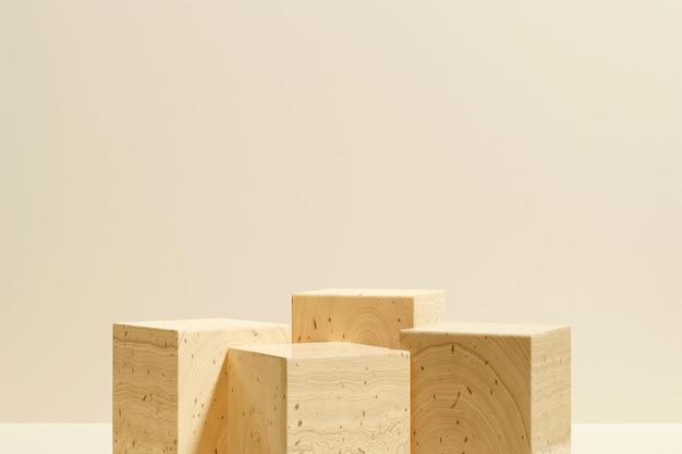 3d-рендеринг деревянного подиума в минималистском стиле для презентации продукта