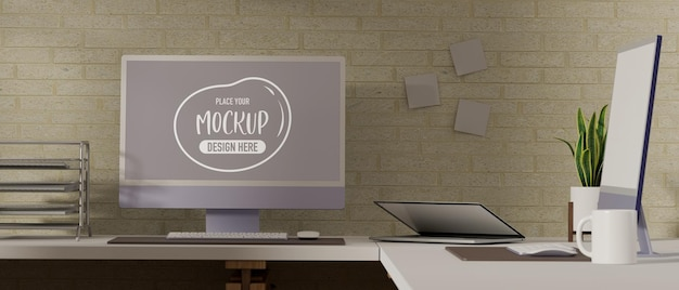 3d rendering of working room with computer mockup