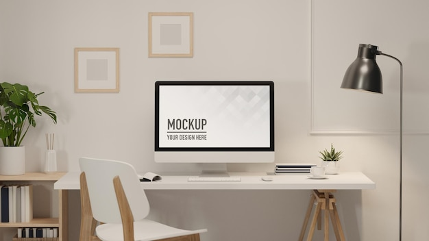 3d rendering workspace with computer supplies and decorations