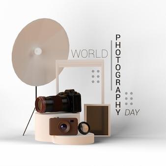 Шаблон всемирного дня фотографии 3d рендеринга