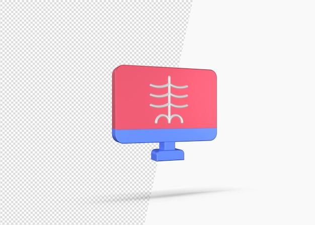 3d рендеринг рентгеновского отчета о концепции монитора
