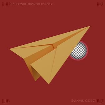 3d 렌더링 노란 종이 비행기 그림