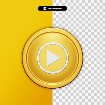 3d rendering youtube music icon on golden circle isolated