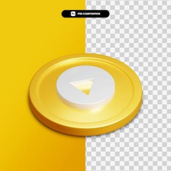 고립 된 황금 동그라미에 3d 렌더링 youtube 음악 아이콘