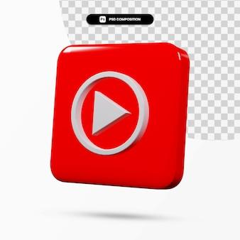 3d 렌더링 youtube 음악 로고 응용 프로그램 격리