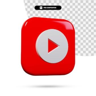 3d 렌더링 Youtube 음악 로고 응용 프로그램 격리 프리미엄 PSD 파일