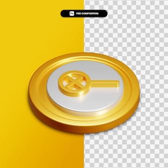 分離された金色の円の3dレンダリングズームアイコン