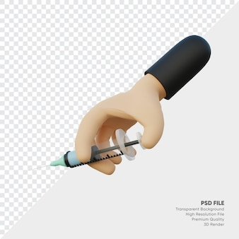 3d renderingo of hands holding medical injections