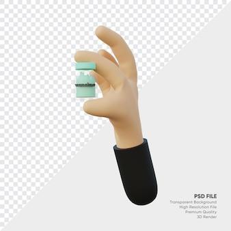 작은 백신 병을 들고 손의 3d 렌더링
