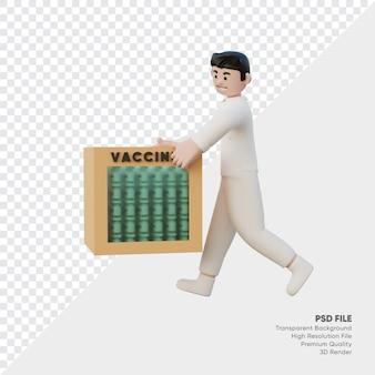 医者の3dレンダリングはワクチンの箱を持ってきました