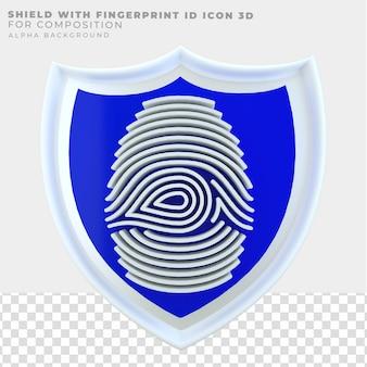 지문 id 아이콘이 있는 3d 렌더링 실드