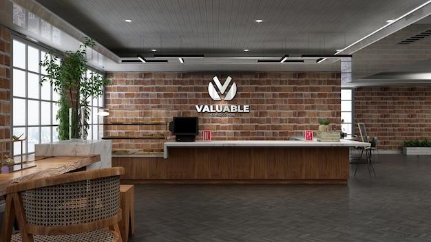レンガの壁と3dレストランまたはバーのロゴのモックアップ