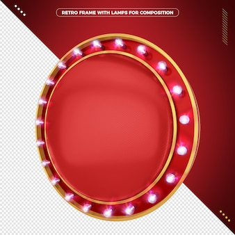 3d retro round frame with realistic led lamps for composition