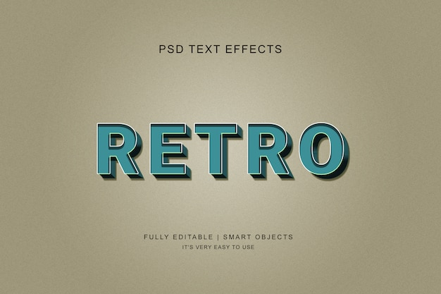 3d retro text effect style