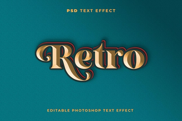 3d retro text effect template with green background